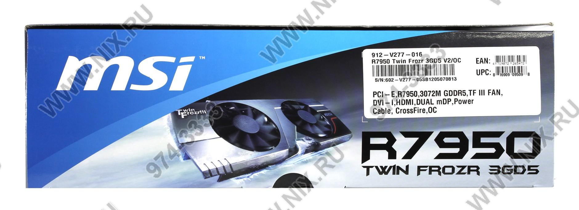 Видеокарта pci-e 3072мб msi r7950 tf 3gd5 / oc be (radeon hd 7950, ddr5, dvi, hdmi, 2x minidp) (ret) 116105